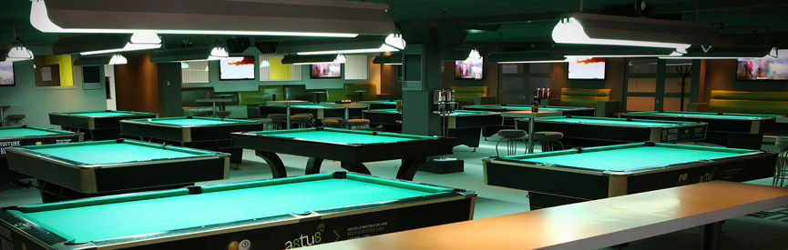 24 tables de Billard et 5 tables de Snooker pour vous divertir!